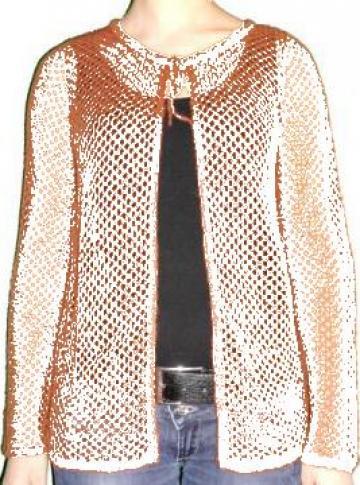Jacheta caramizie, tricotata, perforata de la Standonline.ro
