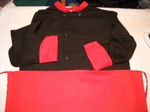 Costum bucatar negru cu manseta si guler rosu de la Johnny Srl.