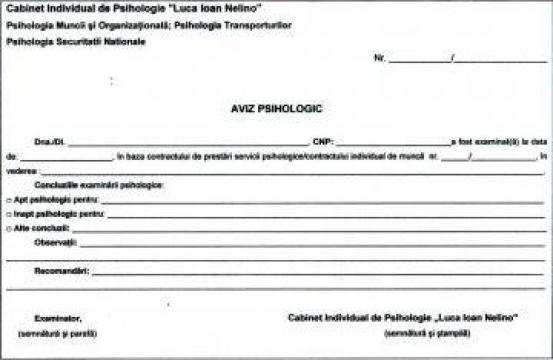 Aviz psihologic pentru angajare / verificare periodica de la Cabinet Individual De Psihologie
