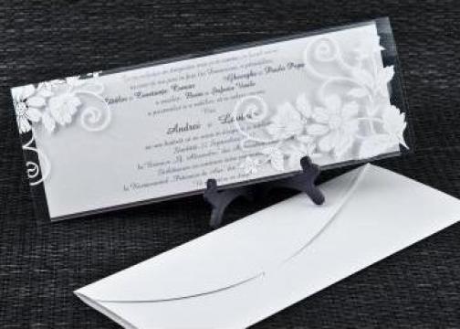 Invitatie Nunta Carton Argintiu Sidefat Bucuresti Wwwinvitatii