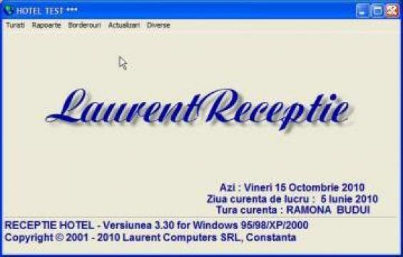 Program software receptie hotel Laurent de la Laurent Computers Srl
