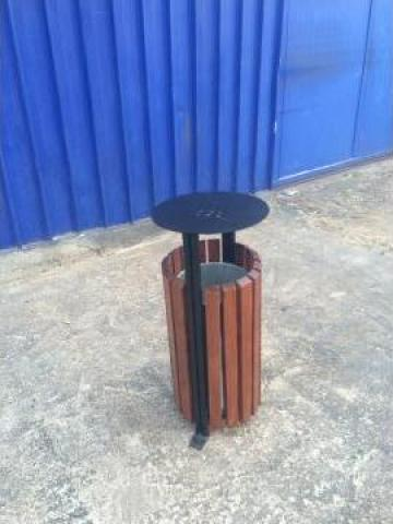 Cos de gunoi din lemn cu scrumiera de la Ralmetal Remad Srl