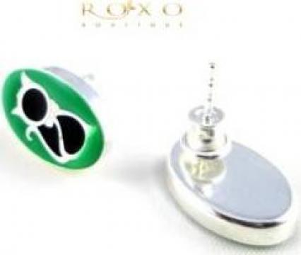 Cercei verzi pisica argint de la Roxo Boutique Srl