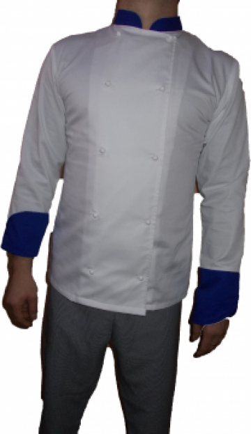 Costum de bucatar alb cu lila de la Johnny Srl.