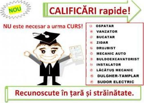 Curs rapid buldoexcavator, ospatar, bucatar, vanzator de la Calex Certif