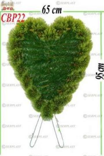 Coroana funerara brad&pin artificial inima cu picior I de la Serplast Srl
