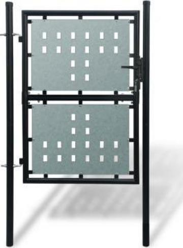 Poarta pentru gard simpla, negru, 100 x 175 cm de la Vidaxl