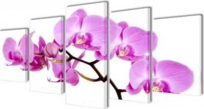 Set tablouri de perete cu imprimeu orhidee, 200 x 100 cm de la Vidaxl
