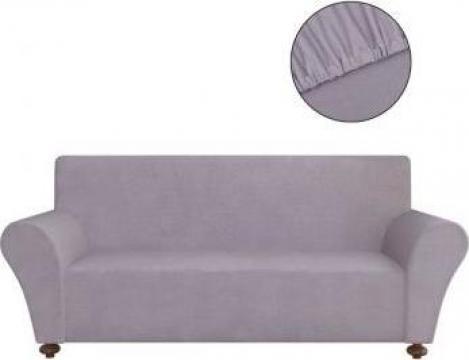Husa elastica pentru canapea poliester jerseu gri de la Vidaxl