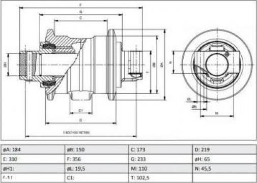 Rola rulare simpla 24100N2156F2 Kobelco SK150LC Mark III