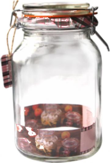Borcan sticla patrat cu capac 2 litri de la Basarom Com
