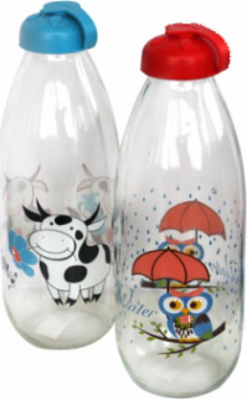 Sticla pentru lapte cu decor 1litru de la Basarom Com