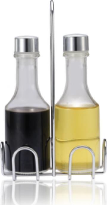 Set ulei maslina si otet Eko Line 2 piese suport inox N-8051 de la Basarom Com