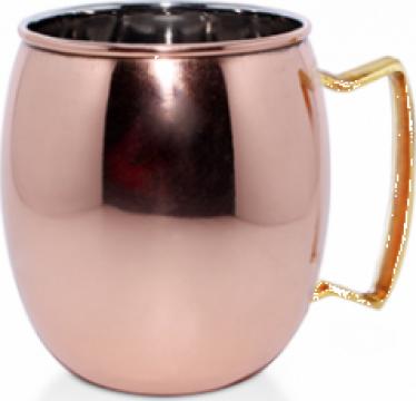 Halba, cana Raki Mug Moskow inox cu strat cupru 8,25x9,5cm de la Basarom Com