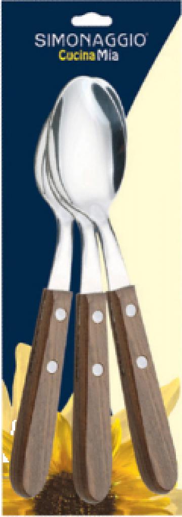 Lingura set 3 bucati Simonaggio Cucina Mia cu maner lemn de la Basarom Com