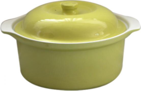 Oala ceramica cu capac Cerutil 3litri 21x8,5cm verde de la Basarom Com
