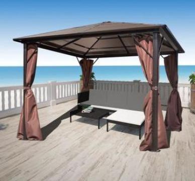 Pavilion cu perdea, maro, aluminiu, 300 x 300 cm de la Vidaxl