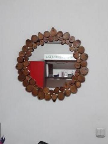 Oglinda rama din felii de lemn de la