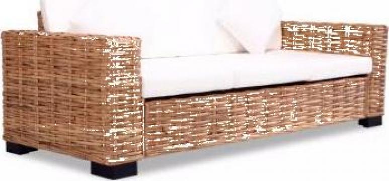 Canapea cu 3 locuri, ratan natural de la Vidaxl