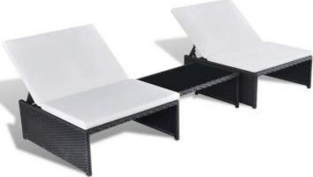 Set sezlonguri cu 2 locuri, 5 piese, poliratan, negru de la Vidaxl