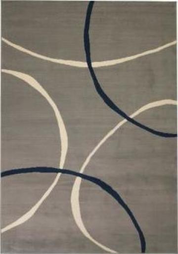 Covor modern, design cercuri, 80 x 150 cm, gri