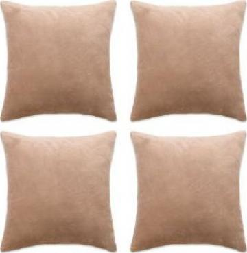 Huse de perne decorative 4 buc. velur 80x80 cm bej