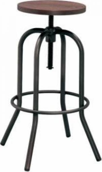 Scaun pentru bar Antique 40x40x70-86cm Black Matte lemn/meta de la Basarom Com