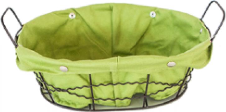 Cos paine oval Raki din metal, panza culoare verde 25x20x8cm de la Basarom Com
