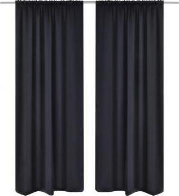 Perdele negre opace cu rejansa 135 x 245 cm, 2 buc. de la Vidaxl