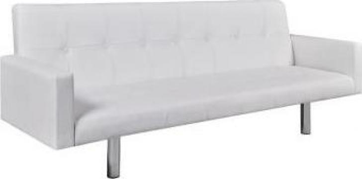 Canapea extensibila cu brate, alb, piele artificiala de la Vidaxl