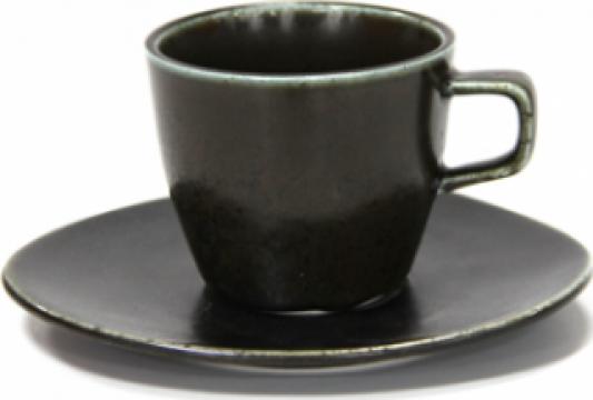 Ceasca cu farfurioara portelan Antique Black 220ml de la Basarom Com