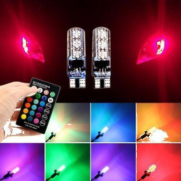 Set 2 becuri cu led T10 W5W 6 SMD 5050 cu telecomanda RGB