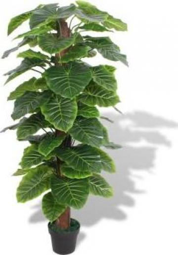 Planta artificiala Taro cu ghiveci, 145 cm, verde