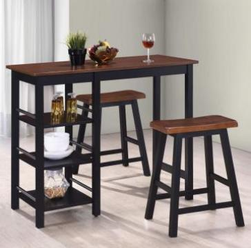 Set mobilier de bar, 3 piese, MDF, negru de la Vidaxl