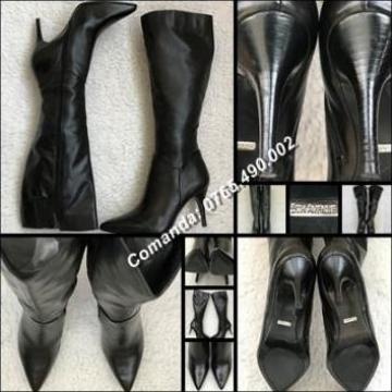Cizme 38 negre dama piele 5th Avenue stiletto toc cui de la Cieaura