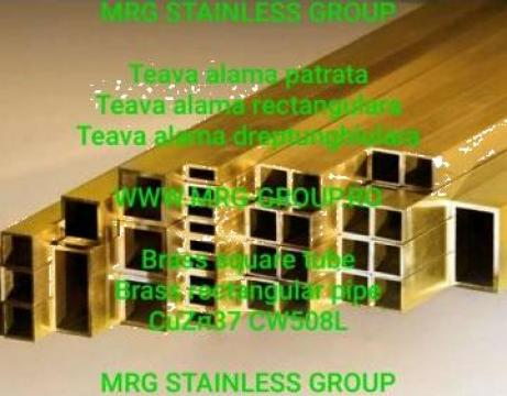 Teava alama rectangulara 20x10x1.5 patrata rotunda CuZn37