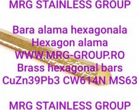 Bara alama hexagonala 35mm, hexagon alama CuZn39Pb3 CW614N de la MRG Stainless Group Srl