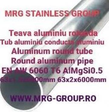 Teava aluminiu rotunda 63mm conducta tub EN-AW 6060 T6 de la MRG Stainless Group Srl