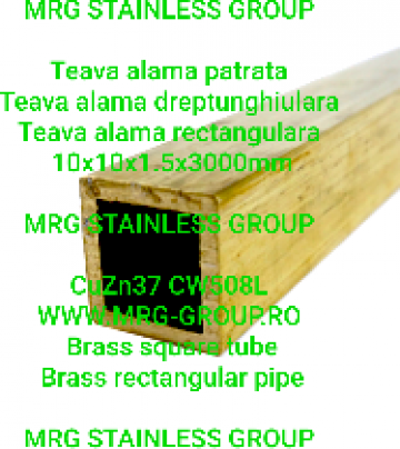 Teava alama patrata 10x10x1.5mm rectangulara CW508L CuZn37 de la MRG Stainless Group Srl
