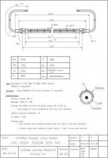 Lampa tubulara halogena JHC 400V 3000W 500 NH Toshiba
