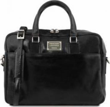Geanta laptop barbati din piele neagra Tuscany Leather de la Omninova