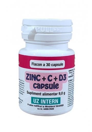 Supliment alimentar Zinc + C + D3 - 30 capsule de la Medaz Life Consum Srl