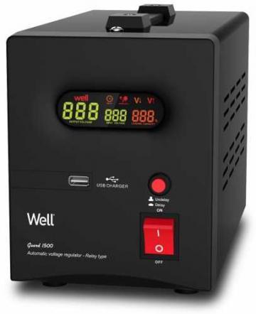Stabilizator automat de tensiune cu releu 1500VA, negru Well