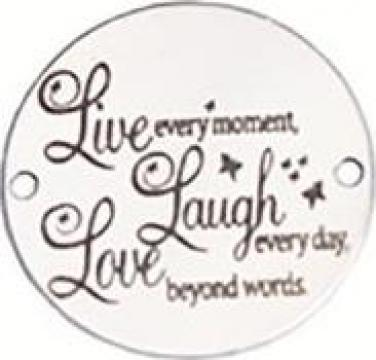 Bratara Live Laugh Love, pandantiv Ag 925, snur negru