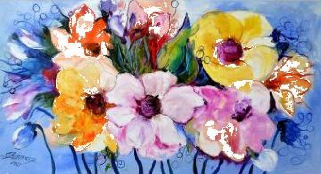 Pictura cu flori Bissinger - Flori de la vecina de la Gallery Art Bissinger Srl