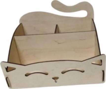 Organizator birou, blank, placaj plop, 20x15x15 cm de la Sandart Wood Srl
