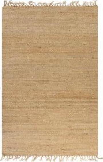 Covor din iuta lucrat manual, 120 x 180 cm, natural de la Vidaxl
