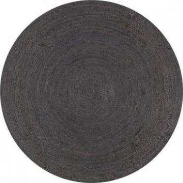 Covor manual, gri inchis, 150 cm, iuta, rotund de la Vidaxl