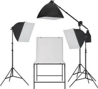 Kit studio foto cu iluminare softbox si masa foto de la Vidaxl
