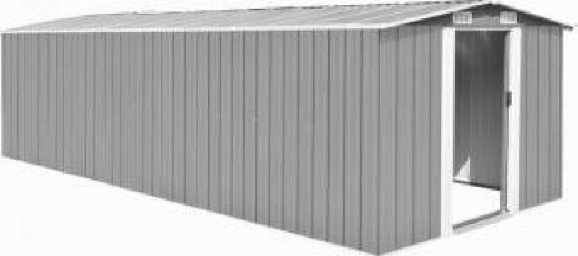 Magazie de gradina 257 x 597 x 178 cm, metal, gri